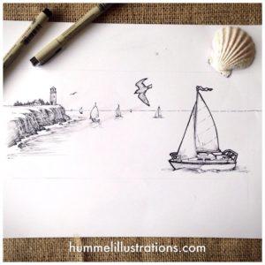Sailboats - Pen and Ink Illustration