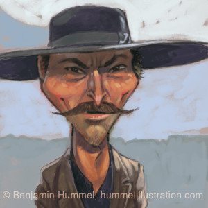 """Angel Eyes"" Lee Van Cleef - Caricature"
