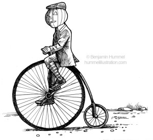 Headless Cyclist - Black and White Editorial Art