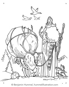 Scandinavian Christmas - Coloring Page