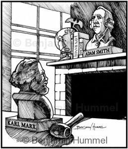 Adam Smith vs. Karl Marx - Magazine art for